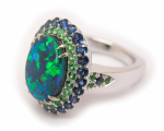 Black Opal with Tsavorites & Sapphires Ring