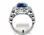 Cushion Sapphire Halo with Large Diamonds