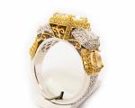 Yellow & White Radiant Diamonds Halo Ring