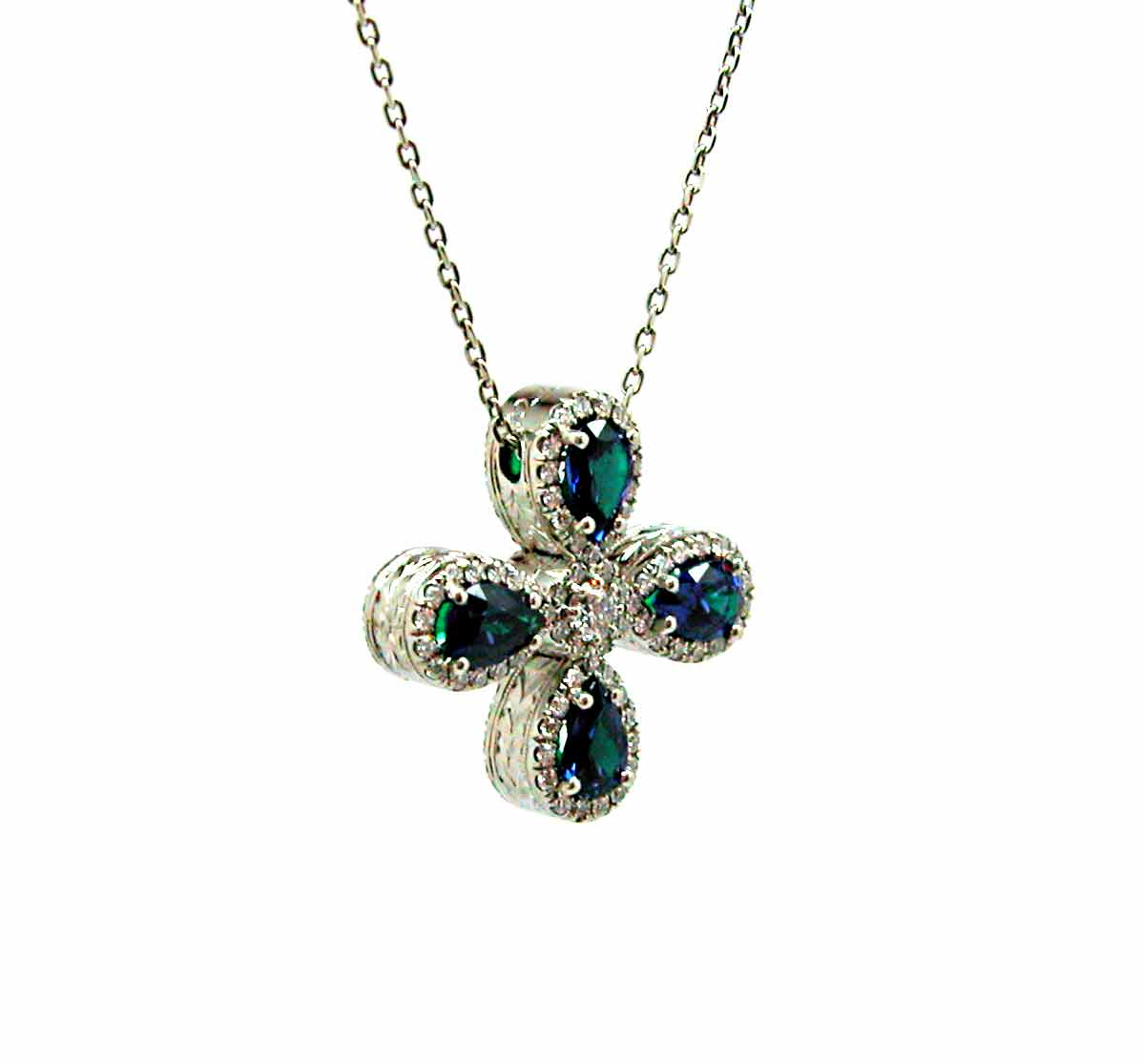 Emerald And Sapphire Reversable Cross Exclusive Jewelry