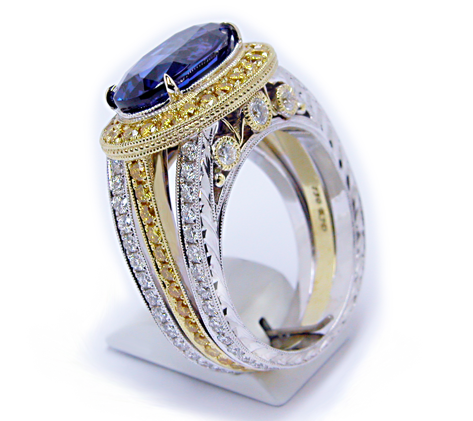 Oval Tanzanite Halo Triple Shank Ring LARGER