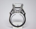 10.55 Carats Asscher Cut Diamond 3 Stone Ring