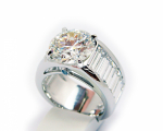 6.55 Carats Round Diamond Long Baguettes Ring
