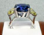 Cushion Sapphire with Yellow Heart Diamonds Ring