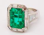 EM Cut Emerald Vintage Ring with Baguettes