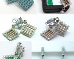 Invisibly Set Princess Cut Emeralds Earrings
