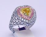 Vivid Yellow Heart Shape Diamond Ring